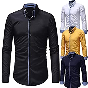 UJUNAOR Herren Herbst Casual Formal Slim Fit Langarmhemd Top Bluse
