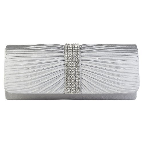 Girly HandBags Frauen Silber Satin Diamante Damen Plissee Schleife Hochzeit Braut Abschlussball Handtasche Clutch Bag Unterarmtasche -- Silber (Plissee-clutch)