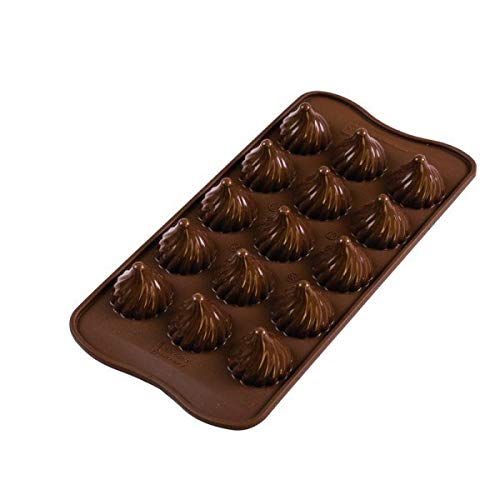 Silikomart Choco Flame Silicone Chocolate Mold, Flexible Tray with 3D Technology Creates 15 Flame-shaped Chocolates, Easily Unmolds, Oven, Freezer, Microwave and Dishwasher Safe, Made in Italy