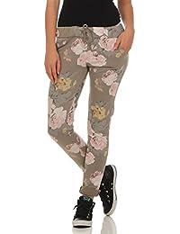 0c39643ebb Mississhop Damen Hose Freizeit Stoffhose Baumwollhose Sweatpants Boyfriend  im Blumen Print One Size S M L XL 36