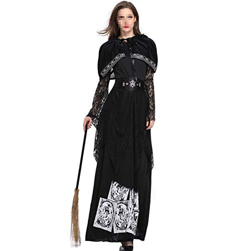 POIUYT Frau Halloween Print Schwarze Strumpfhose Hexe Langes Vampir Kostüm Königin Erwachsenen Kostüm Ball Performance Kostüm - Hut (Schal Eins + Rock),Black-M (Hüte Party Birthday Black)