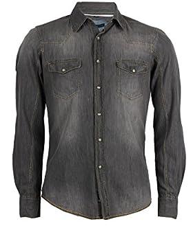 Camicia jeans Thor grigia slim fit