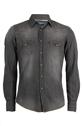 Camicia jeans thor grigia slim fit, xl