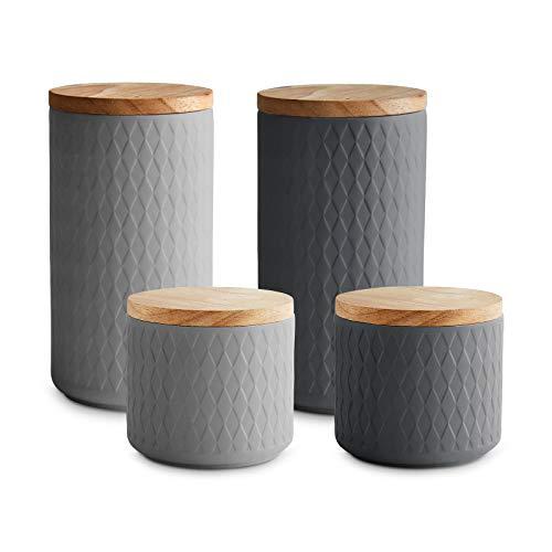 Keramik Vorratsdosen mit Holzdeckel Misty Cliff | Luftdichter Kautschukholz-Deckel | Aufbewahrungsdosen | Frischhaltedosen | 4-tlg. Set (Keramik Küchen Set)