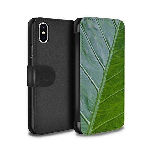 Stuff4 Coque/Etui/Housse Cuir PU Case/Cover pour Apple iPhone X/10 / Ondulé Design / Plantes/Feuilles Collection Veine