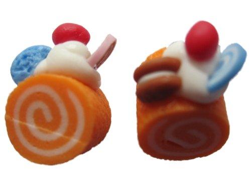 Ohrringe Stecker Ohrstecker handgemachte Rolle Kuchen Torte Bäckerei Orange / Kirsche *1489* -