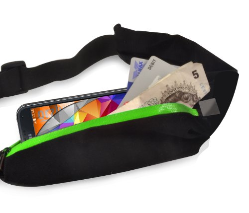 Orzly® - SecureSafe Correa Funda con Bolsillos Doble - (Adecuada para el almacenamiento del SmartPhone / Dinero / Llaves / o otros artículos útiles seguridad a su cuerpo durante sus viajes) ??Pocket en estilo de Cyclista con dos bolsillos zipable y correa ajustable - VERDE