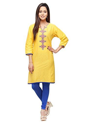 Strilish Women's Cotton A-Line Kurta (Yellow, XX-Large)