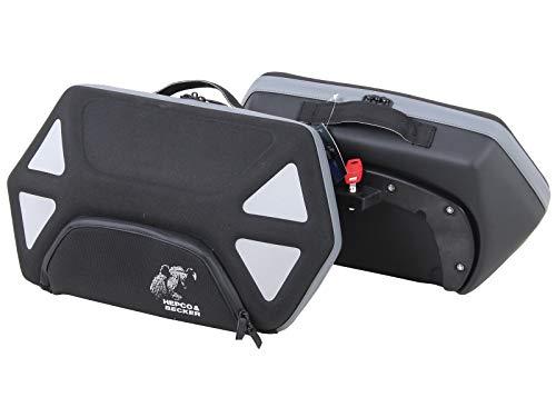 Hepco&Becker Seitentaschensatz Royster 22 ltr. schwarz mit grauem Reißverschluss für C-Bow Halter -
