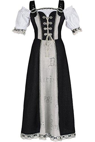 Damen Fuchs Trachtenmoden Landhauskleid Baumwolle 'Heidi', schwarz, 48
