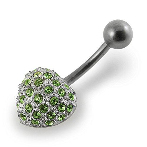 Bijou de Corps anneau de nombril en argent motif coeur en pierres Light Green