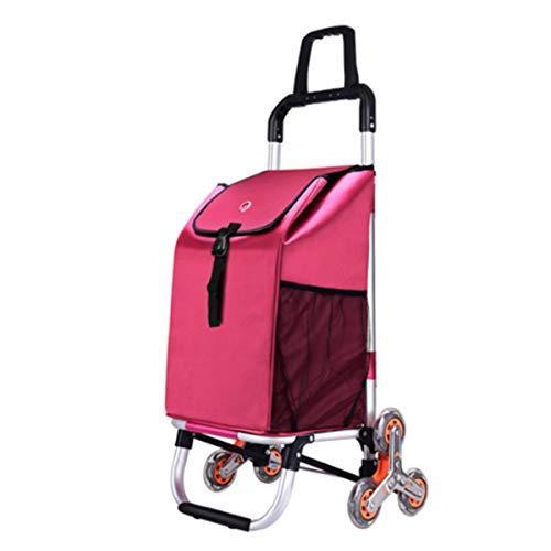 YGUOZ 2 de 1 Klappbar Reisenthel Trolley Einkaufswagen, Leichtem Einkaufshilfe mit 6 Räder, Noiseless, Doppelgriff (44L),red