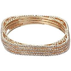 Zeneme Designer American Diamond Gold Plated Bangles Jewellery For Women / Girls (2.6)