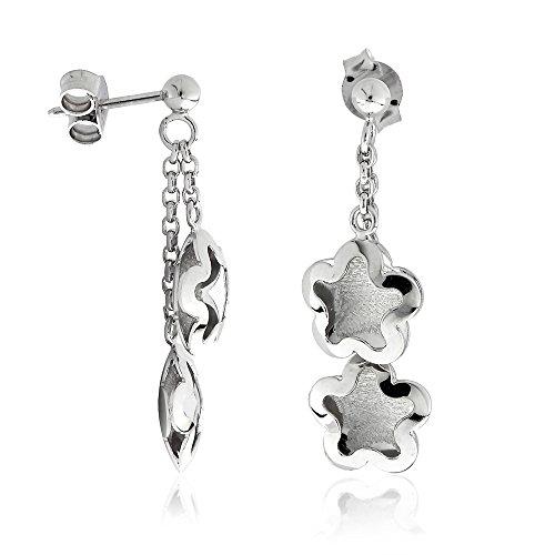 Gioiello Italiano Boucles d'oreilles pendantes en forme de fleurs, en or 14carats blanc