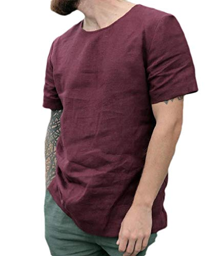 83362c9773 CuteRose Men Blouse Shirt Relaxed-Fit Trim-Fit Short-Sleeve Ethnic Tunic  Tops Wine Red L