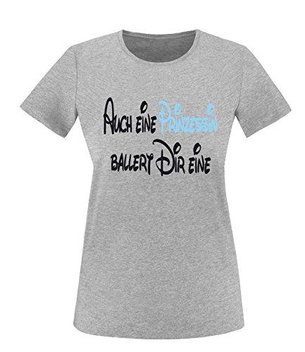 Luckja Auch eine Prinzessin ballert dir eine Damen Rundhals T-Shirt Grau/Schwarz/Hellblau