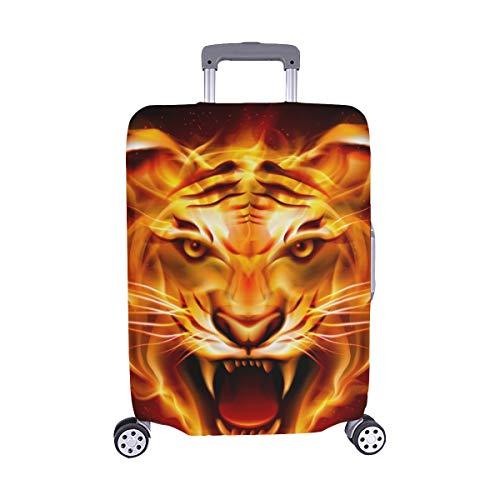 ((Nur abdecken) Kopf-Tiger-Zungen Flamme auf Spandex- Staubschutz Trolley Protector case Reisegepäck-Schutzkoffer-Abdeckung 28,5 X 20,5 Zoll)