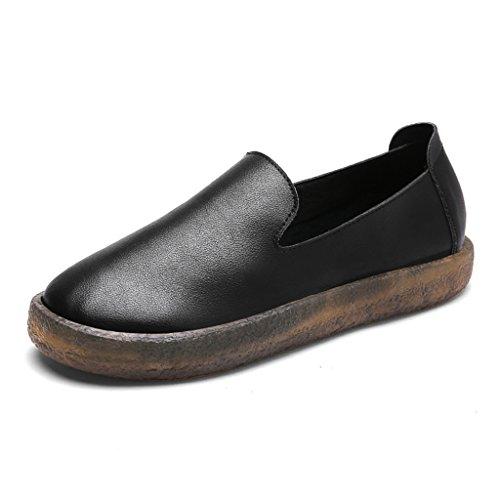 HWF Scarpe donna Scarpe da donna primaverili Tonde piatte Scarpe casual Scarpe singole retrò A Pedal Lazy Shoes Female ( Colore : Beige , dimensioni : 37 ) Nero