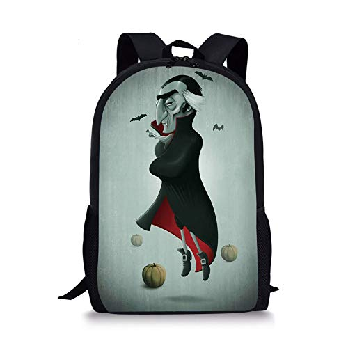 Creepy Halloween Night Pumpkins and Old Vampire with Cape Flying Bats,Black Almond Green Red for Boys&Girls Mens Sport Daypack ()