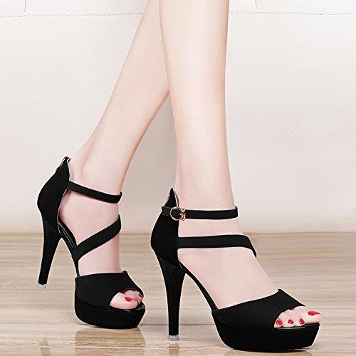 Estate moda donna sandali comodi tacchi alti,38 rosso Black