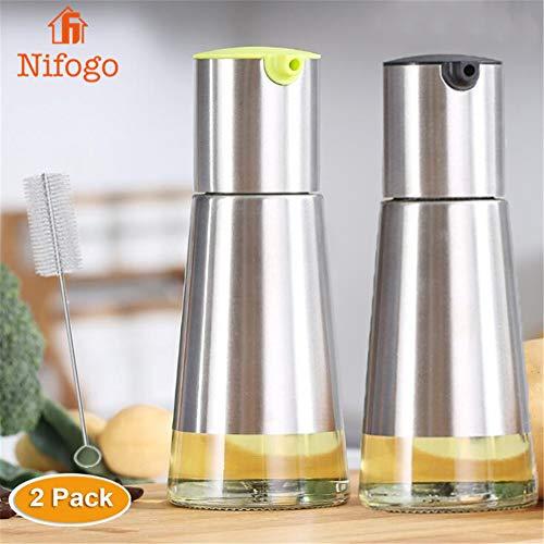 Nifogo Ölflasche Öl & Essig Spender 2er Set- Öl Flasche Glas/Edelstahl 230ml, küche Ölspender Flasche für Olivenöl Speiseöl Dressing (S-2PCS + Reinigungsbürste) -
