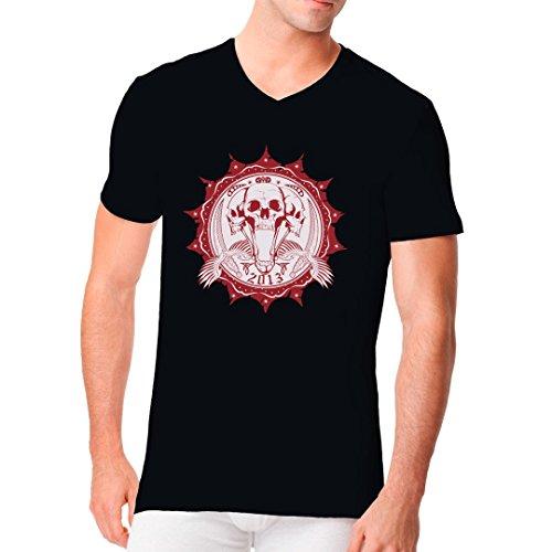 Gothic Fantasy Männer V-Neck Shirt - Skullsiegel Piraten Totenköpfe mit Schwertern by Im-Shirt Schwarz