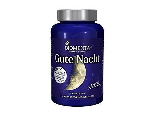 Biomenta® GUTE NACHT | mit BALDRIAN + HOPFEN + MELISSE + PASSIONSBLUME + LAVENDEL + GABA + MAGNESIUM + VITAMIN C + B-VITAMINE | 120 Schlaf-Tabletten | VEGAN