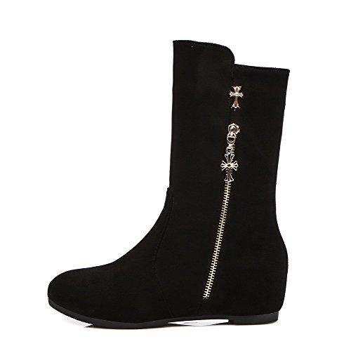 AgooLar Damen Rein Blend-Materialien Niedriger Absatz Ziehen auf Rund Zehe Stiefel, Schwarz, 37