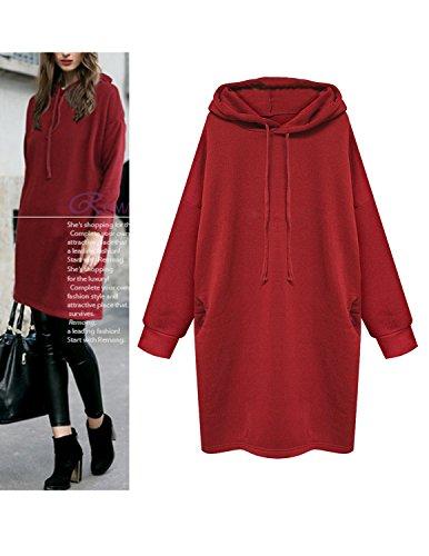 M-Queen Donna Felpa Con Cappuccio Cashmere Boyfriend Pullover Hoodie Sweatshirts Sportswear Loose Fit Vestiti Mini Rosso