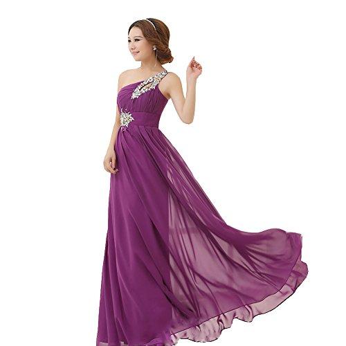 drasawee Damen Lang Chiffon Abendkleid One Shoulder Ball Party Brautjungfer Kleid Dunkelviolett