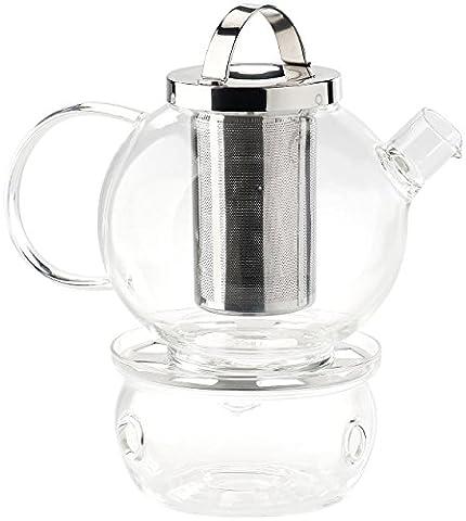 Cucina di Modena Teekanne: Tee-Set aus Glaskanne (1,5 l) mit Edelstahl-Sieb und Stövchen