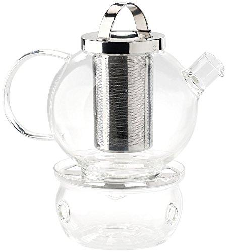 Cucina di Modena Tee-Set aus Glaskanne (1,3 l) mit Edelstahl-Sieb und Stövchen