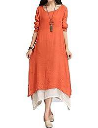 Sidiou Group Femme Robe Coton et Lin Vintage Split Irregular Hem Casual  Loose Boho Longue Taille be21630f3c1