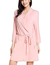 adomer Mujer Batas Kimono Algodón Camisón Encaje Pijama Túnica Ropa de Dormir