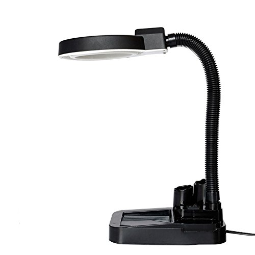 Schreibtisch-Lupenleuchte verstellbare Schwanenhals-Arm LED-Licht 5X und 10X Lupe mit für Tattoo Maniküre Alte Männer Lesen Schmuck Craft Watch Repair - Schwanenhals-arm