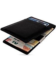 Geldbörse Herren mit Geldklammer | Kartenhalter | Echt-Leder | RFID NFC Schutz | Premium Qualität | Kreditkartenetui mit Geldscheinklammer | Portemonnaie mit Geldclip | braun | Mitao