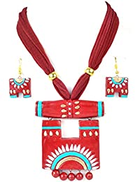 Terracotta Jewellery Sets By Nisuj Fashion Maroon & Green Traditional Sets Latest Design Low Price
