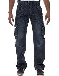 New Mens ETO Designer Cargo Combat Multipocket Denim Dark Stonewash Jeans Pants