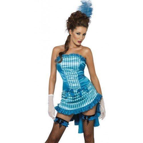 urleske Vegas Kabarett Henne Do Nacht Halloween Kostüm Kleid Outfit - Blau, 12-14 (14 Nächte Von Halloween)