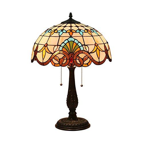 16-Zoll-Barock Tiffany Tischleuchte Hand Crafted Glass Tischlampe Kreative Nachttischlampe Lesen...
