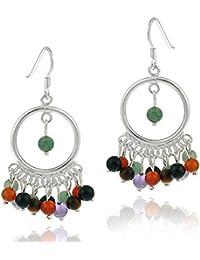 Boucles d'oreilles chandelier en argent sterling avec véritables perles de pierres oeil de chat tigré, cornaline, amethyste, aventurine, quartz rose et quartz fumé