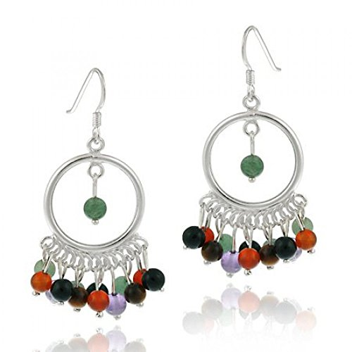 Sterling Silver Chandelier Hoop Earrings with genuine Tiger cats-eye, Carnelian, Amethyst, Aventurine, Rose Quartz, Smokey Quartz stone beads