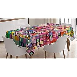 ABAKUHAUS Géométrique Nappe, Design Coloré Moderne, Convient pour Une Utilisation en extérieur Lavable Colorfast Couleurs claires, 140 x 200 cm, Multicolore