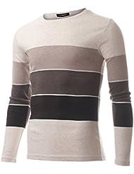 FLATSEVEN T-Shirt Slim Fit Coton Rayé Homme