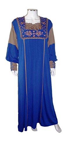 Black Cat Abaya - Chemise de nuit - Tunique - Manches Longues - Femme XX-Large Bleu