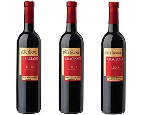 Pata Negra Graciano D.O Rioja . Vino Tinto. 3 Botellas x 750 ml - Total 2250 ml