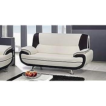 Mobilier Deco Canapé 2 Places Design Blanc et Noir en Simili Cuir MUZA