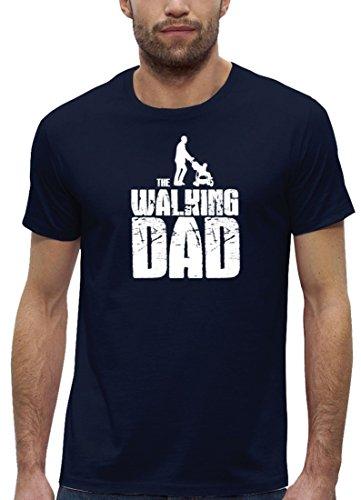 Vater Papa Premium Herren T-Shirt aus Bio Baumwolle Walking Dad Stanley Stella Navy