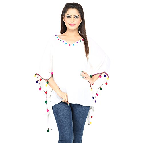 Secret Bazaar Women's Rayon Crape Kaftan Top(White,S)