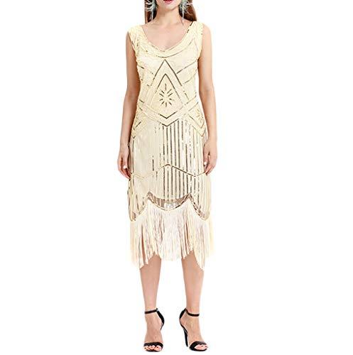 (Luckycat Frauen Vintage 1920er Jahre Perle Fransen Pailletten Spitze Partykleider Flapper Cocktailkleid Abendkleider Schwingenkleid Blusenkleid Kleider)